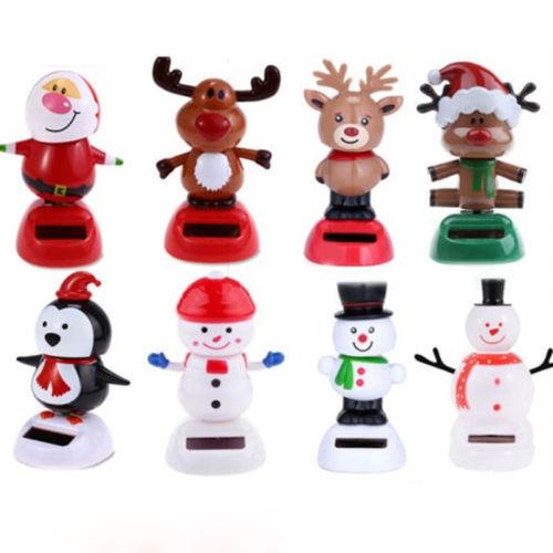 xmas solar powered dancing swinging bobble doll toys christmas snowman santa figurines home decoration base color randomly in figurines miniatures from - Santa Snowman