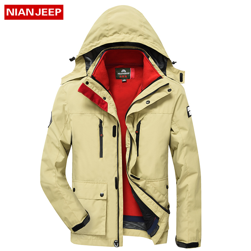 NIAN JEEP New 2017 Winter Warm Jacket Men Casual Brand Waterproof Clothing Top Quality Thick Fit Cotton Men's Jackets Coat Parka