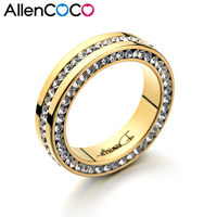 Free Shipping Big Name Daniels Fully Jewelled Stainless Rings 18K Gold Platinum Plated Christmas Present