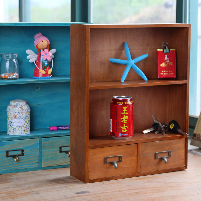 Retro Wooden Storage Boxes With 2 Small Drawers Type Storage Cabinet Retro  Wooden Hanging Finishing Articles