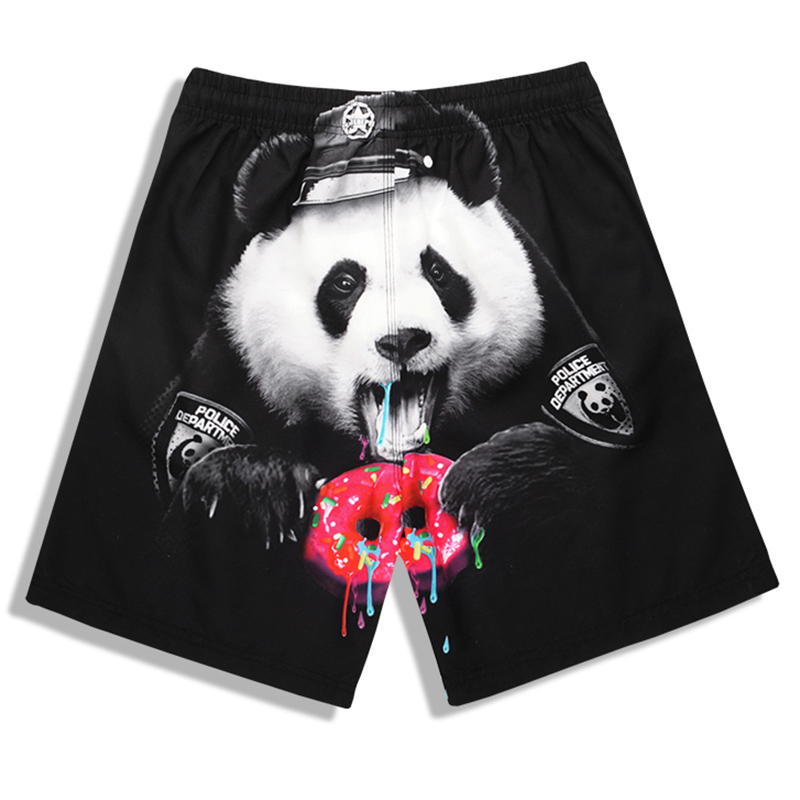New Arrival Men's Beach Pants Quick Dry Swim Trunks Men Cute Panda Printed   Board     Shorts   Plus Size Surfing   Shorts   M-4XL Swimwear
