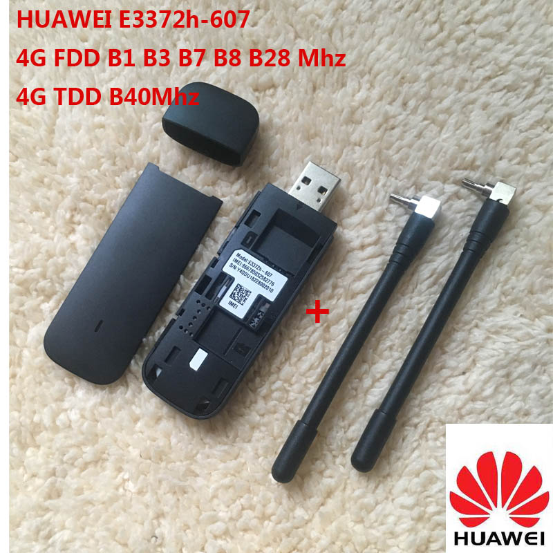 Unlocked New Huawei E3372 Hilink E3372h-607 ( plus a pair of antenna ) 4G LTE 150Mbps USB Modem 4G LTE USB Dongle E3372h-607(China)