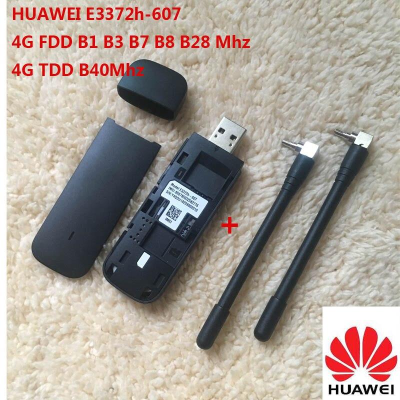 Débloqué nouveau Huawei E3372 Hilink E3372h-607 (plus une paire d'antenne) 4G LTE 150 Mbps Modem USB 4G LTE USB Dongle E3372h-607