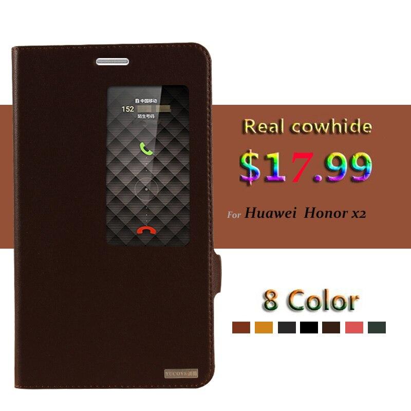 imágenes para Genuino Natural de Vaca piel de vaca Cuero Smart View Window Para Huawei Honor Caso X2 Cubierta Del Teléfono Magnética + Pequeños Regalos