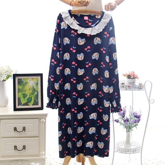 b822c48f7 Women Long Sleeve Super Soft Velvet Sleeping Dress Sexy Carton Dressing  Gown for Girls Night Dress with Trim Winter Onesie Pjs