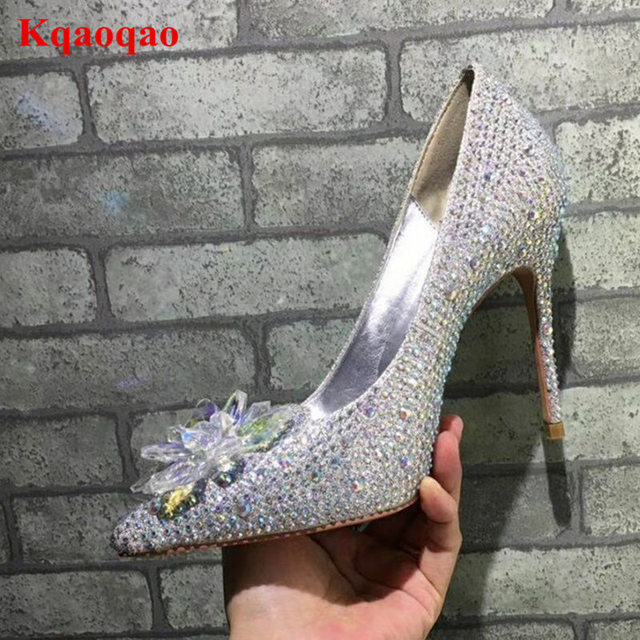Glitter Crystal Embellish Women Pumps High Heel Pointed Toe Shallow Flower  Decor Stiletto Trendy Funky Heels Wedding Party Shoes 897d0d6ddc66