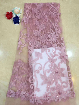 (5yards/pc) High quality pink African tulle lace fabric fancy embroidered French net lace with beads for party dress FZZ066