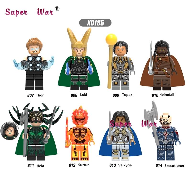 Single Hero Marvel Ragnarok  Thor Loki Topaz Heimdall Hela Surtur Valkyrie Executioner Building Blocks Toys For Children
