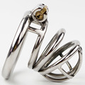 10pcs/lot Stainless Steel Male Chastity Belt with New Style Lock Men Penis Restraint Locking Cage