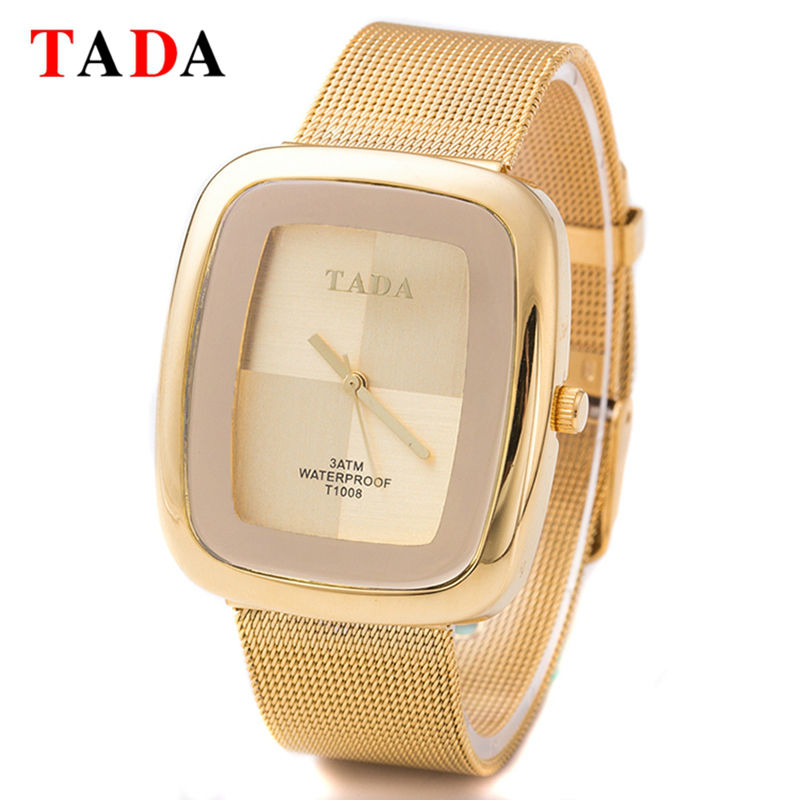 3ATM Waterproof TADA New rectangle girl gold Lady Watches Women Mesh steel rose gold Wristwatches Relojes Mujer Relogio Feminino 1