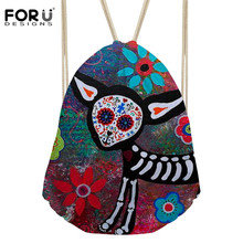 9ca64a6e47 FORUDESIGNS Women s Drawstring Bag Mini Backpack Skull Prints Beach Bag  Girl s Storage for Female Travel Bag
