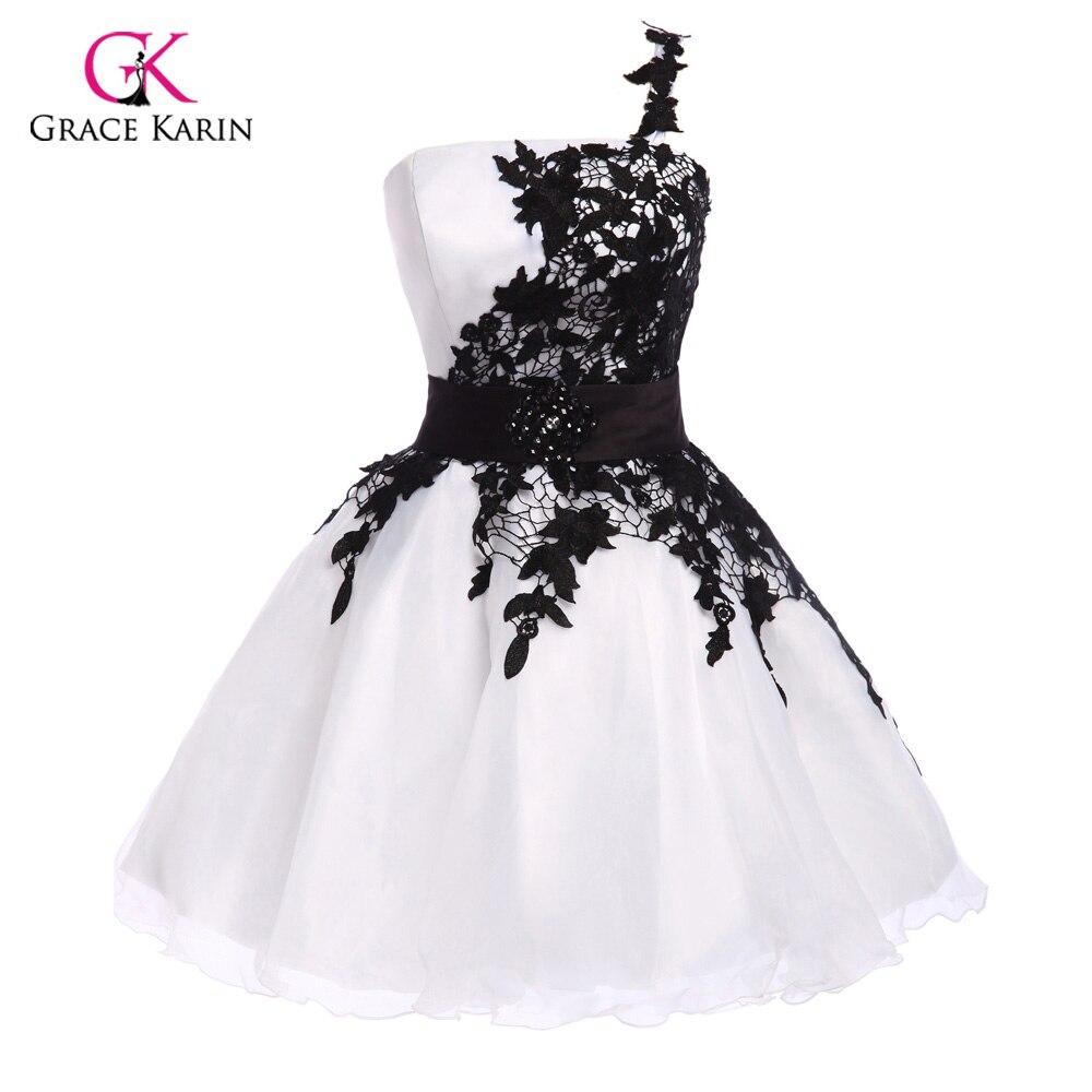 קצר שמלות קוקטייל סקסיות 2018 תחרה שחורה אלגנטית גרייס קארין כתף אחת קוקטייל מפלגה באורך הברך שמלות חלוק דה vestido