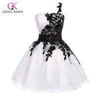 Short Sexy Cocktail Dresses 2016 Grace Karin Elegant Black Lace One Shoulder Vestido Knee Length Party
