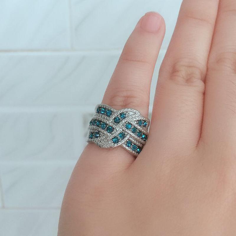Hyperbole Blue Stone Crystal Cubic Zircon Twist Wave Women Ring Wedding Band Romantic Female Finger Ring Engagement Party DDR132