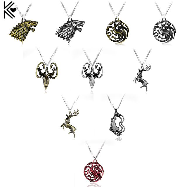 Game of Thrones necklace Stark family lion wolf dragon deer Lannister Targaryen Stark Baratheon Arryn Greyjoy family members