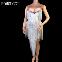 Women New Singer Costume Sexy Perspective Silver Long Tassels Bodysuit Sparkly Crystal Jumpsuit Nightclub Dancer Stage Outfit