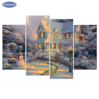 4 Pcs Diamond Embroidery Santa Christmas House DIY Diamond Painting Cross Stitch Picture Rhinestones Full Square