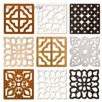 6pcs 29*29cm Hanging Room Divider Screen Shield Biombo Decorativos Wood Entranceway Door Hanging Carving Vintage Cutout