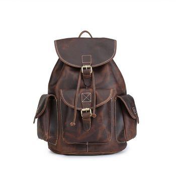 Leather Backpack Vintage Genuine Leather Travel Backpacks Rucksack School Laptop Camping Hiking Bag for College