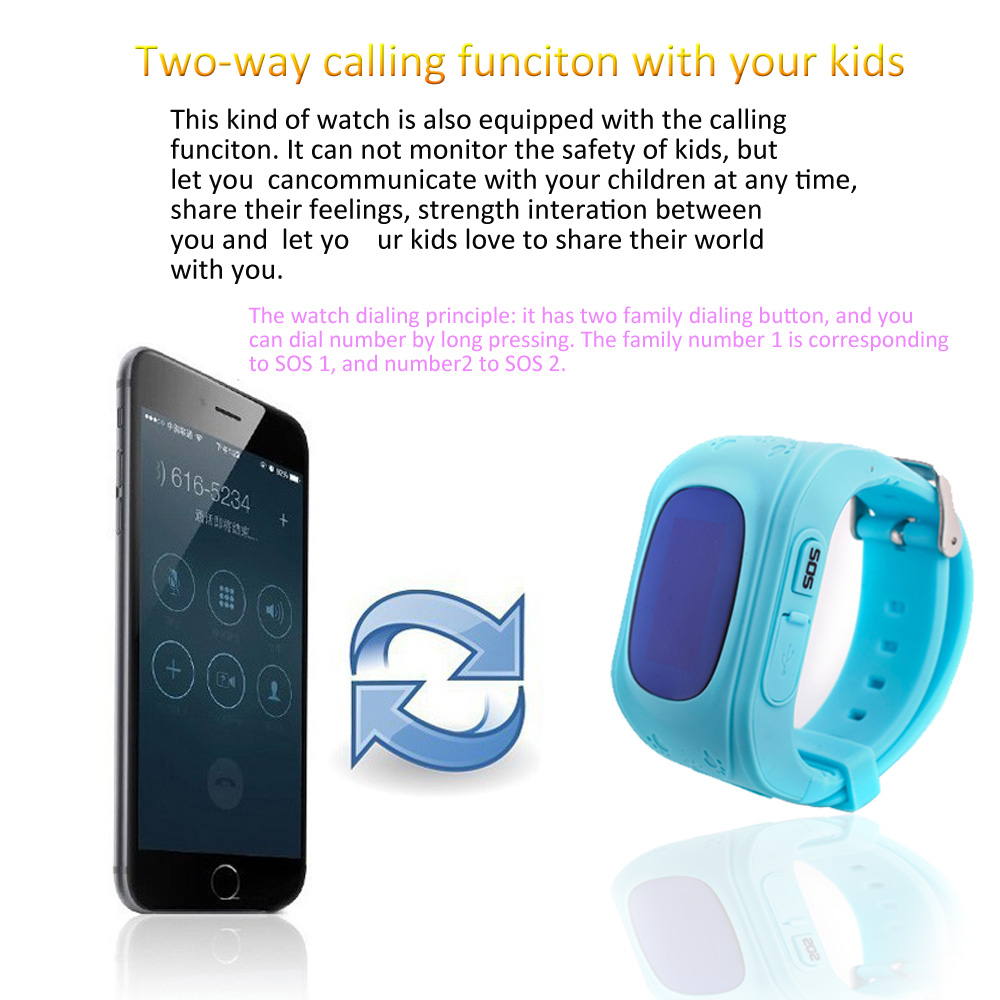Q50 OLED Child GPS Tracker SOS Smart Monitoring Positioning Phone Kids GPS 007