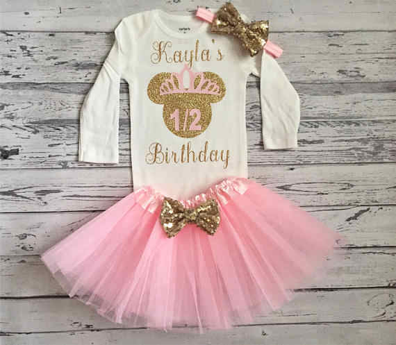 e8b6bb695e5 Customize Minnies Mouse 2nd half 1st birthday infant bodysuit onepiece Tutu  toodles Outfit Set baby shower