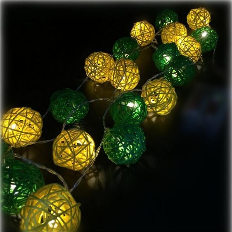 3M 20 LED Warm White 4cm Rattan Ball LED String Lighting Holiday - Festlig belysning - Foto 2