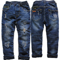 3972 winter denim and fleece navy blue jeans boy pants warm trousers Double-deck thick kids fashion new 2016