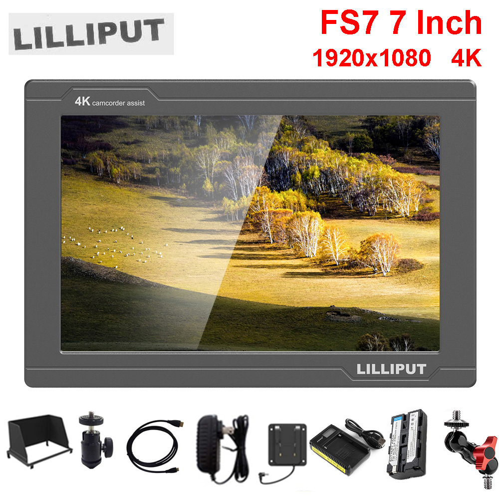 Lilliput FS7 7Inch Full HD 1920x1200 4K HDMI 3G-SDI in/out w/ Battery On Camera Video Field Monitor for Sony PXW-FS7 EVA1 Gimbal цена