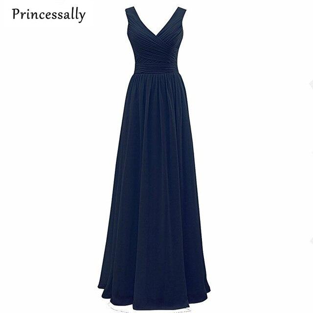 d369d1963 Azul Marino verde menta negro Vestidos de dama de honor V cuello plisado  elegante largo princesa