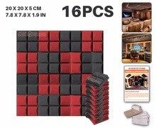 Новый 16 шт. Комплект черно-Красный 20x20x5 см (7.8×7.8×1.9in) Полушарие Сетки Панель Звук поглощения Акустической Пены KK1040