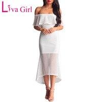 Liva Girl Black Zipped Sheer Mesh Striped Dresses Women Summer Off Shoulder Gauze Maxi Dress Sexy