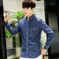 Autumn and winter new cotton washed denim long - sleeved shirt men 's youth self - cultivation leisure shirts-do837