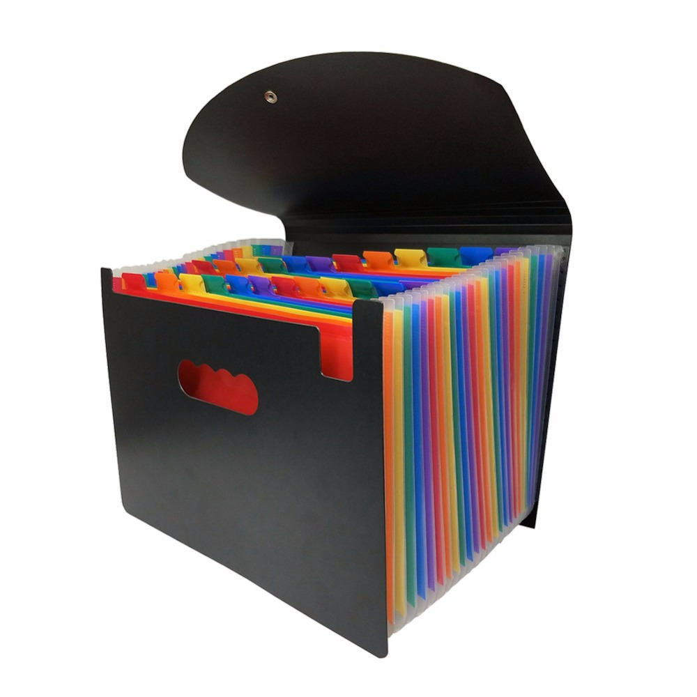12/24 bolsos de expansão arquivo pasta a4 organizador portátil arquivo de negócios material escritório documento titular carpeta arquivador