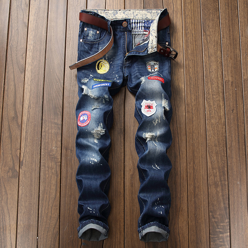 HOHO 2018 fashion mens hole in jeans Badge adornment patch scrape bad youth skinny jeans ...