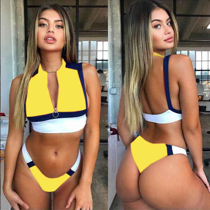 2019 New High Quality Lady 39 s Sexy Bikini Push Up Stitching Bathing Suit Beach SunbathroomInside And Outside Swimwear AA202 in Bikinis Set from Sports amp Entertainment