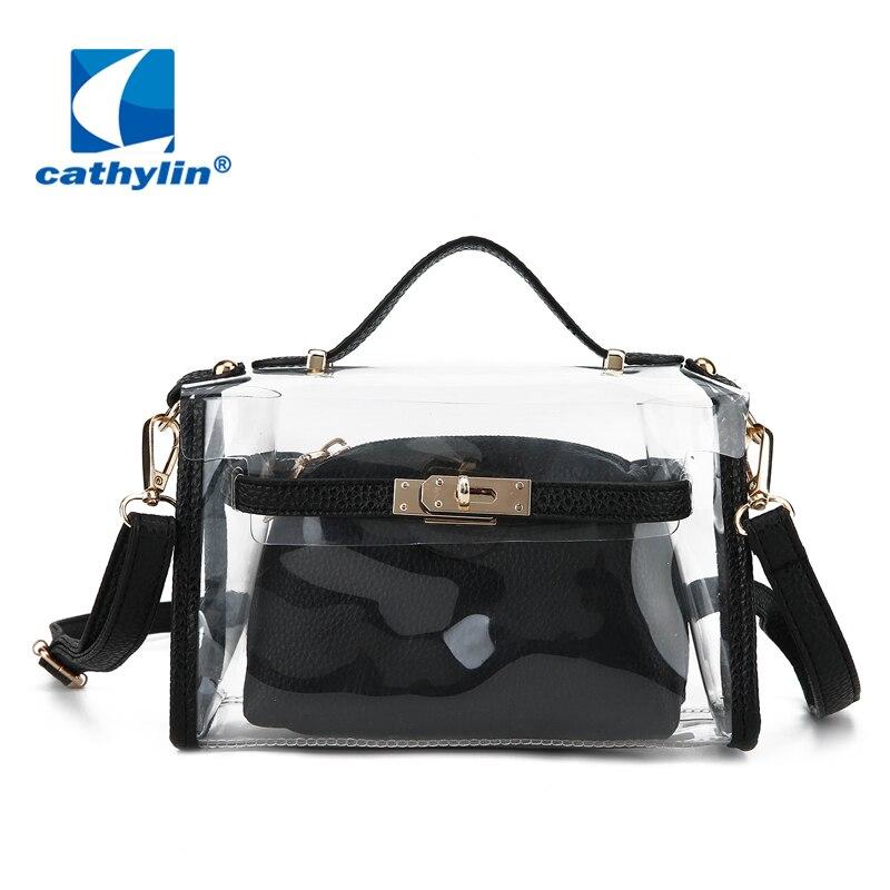 3d77492bbd03 US $10.0 |Cathylin Shoulder Bag Clear Crossbody Messenger Travel  Transparent Purse For Women Bags Composite Bag Strap Adjustable KS1B1772-in  ...