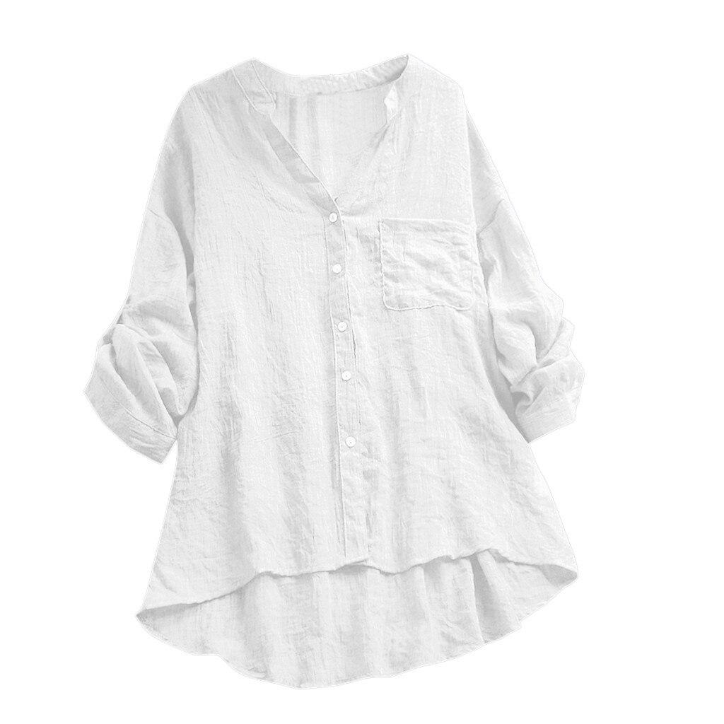 Summer Fashion Botton Shirt Top 2XL Women NEW Cotton Linen Casual See Through Long Sleeve V-neck Pocket Blouse Top Wholesale N4