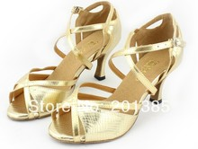 New Discount Ladies Gold Leather LATIN Shoes Ballroom Dance Shoes Salsa Tango Shoes Samba Dancing Shoes All Size