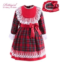 Pettigirl Red Tartan Girls Dresses With Headband Bow Waistband Lace Cuff Autumn Boutique Grid Kids Clothes G-DMGD908-892