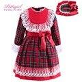 Pettigirl tartán rojo vestidos de las muchachas con diadema arco de la pretina de puño de encaje otoño ropa de boutique de los niños de cuadrícula g-dmgd908-892
