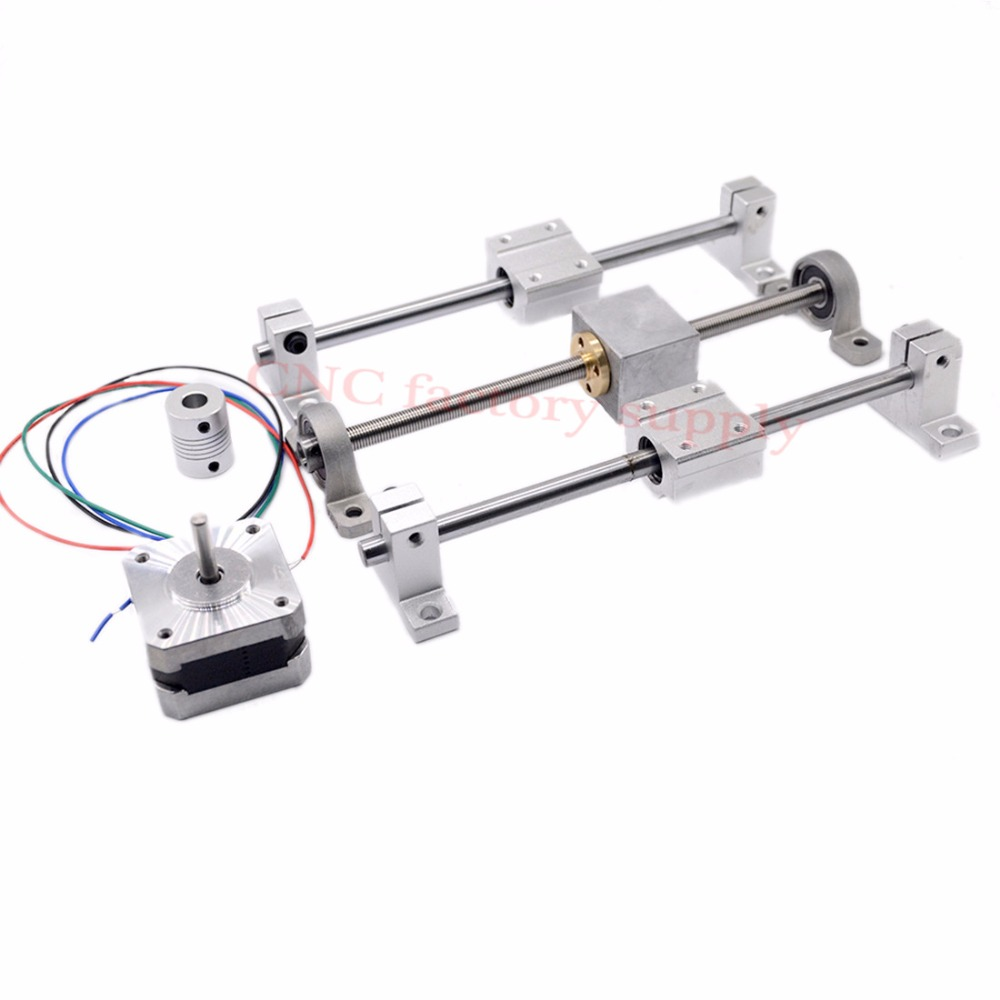 3D Printer guide rail sets T8 Lead screw length 100mm + linear shaft 8*100mm+KP08 SK8 SC8UU+ nut housing +coupling + step motor toothed belt drive motorized stepper motor precision guide rail manufacturer guideway