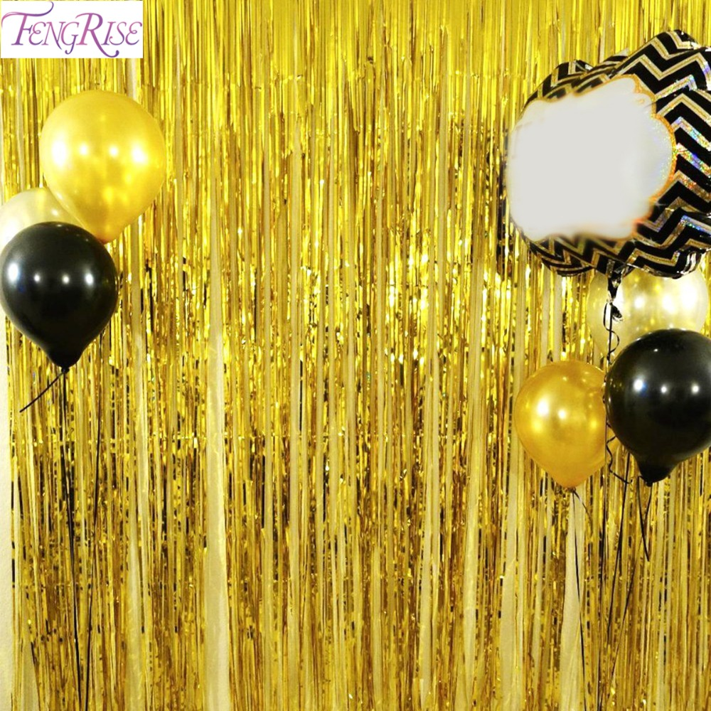 FENGRISE 1x2 Metrów Złota Folia Fringe Tinsel Kurtyna Tassel Girlandy Fotografia Ślubna Tło Birthday Party Decoration