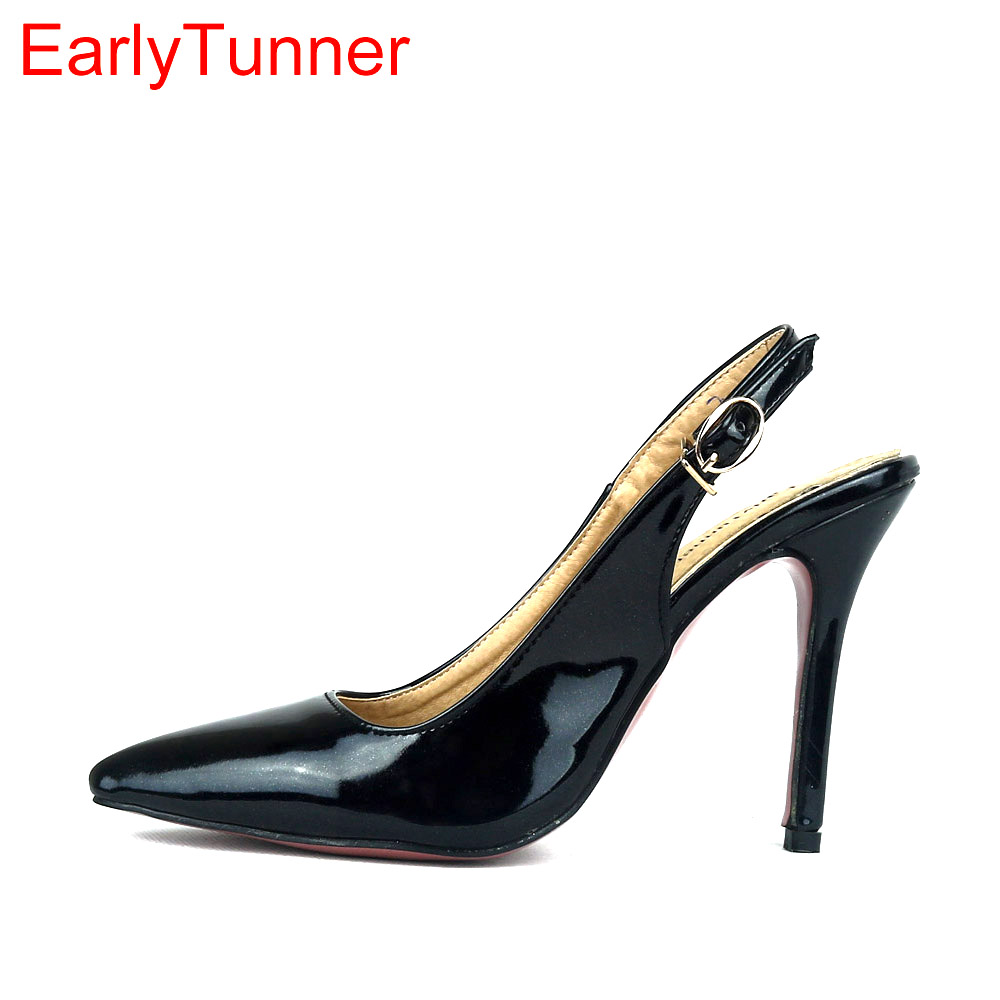 Brand New Sexy Glossy Black Red Women Nude Sandals Purple Pink High Heel Lady Party Dress Shoes EM20 Plus Big Size 12 31 47 brand new summer black pink beige women nude pumps ladies elegant evening shoes stiletto high heel el23 plus big size 32 47 10