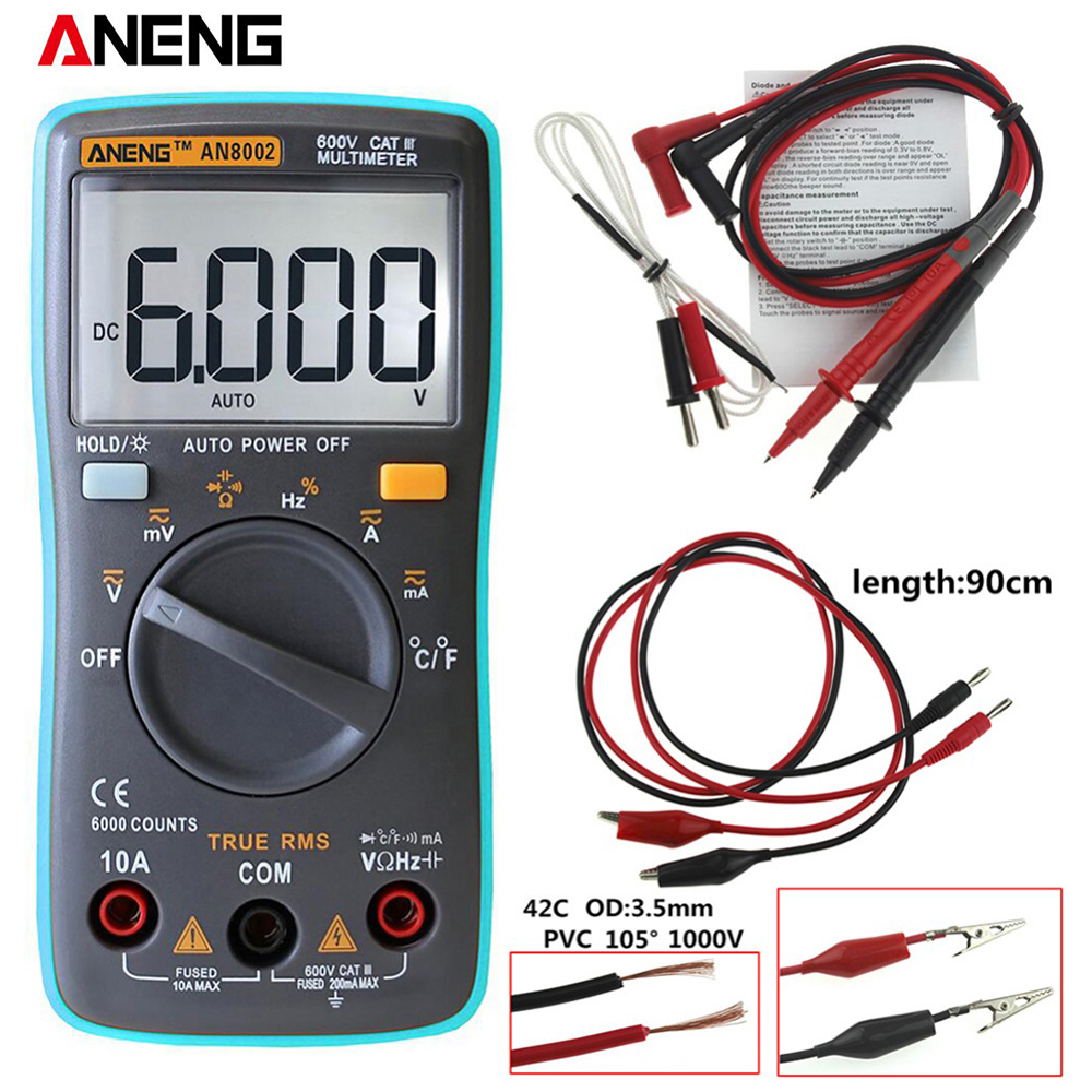 ANENG AN8002 Backlight Digital Multimeter 6000 Counts AC / DC Ammeter Voltmeter ohm meter portable an8002 multimeter 6000 counts back light ac dc ammeter voltmeter ohm frequency diode temperature y40