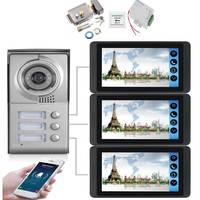 "IOS/أندرويد واي فاي السلكية فيديو باب 7 ""شقة فيديو جرس باب إنتركوم نظام كاميرا تعمل بالأشعة فوق الحمراء مفتاح اللمس لمدة 3 أسر هاتف داخلي بالفيديو    -"