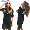 2017 new Knitted set head sweaters dress O-neck Long sleeves lace stitching slim dress 4 colors evening party sexy club dress