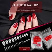 10 Size 500PCS Resin Full Cover Fake Nails Tips Clear Natural Oval False Artificial DIY Manicure Nail Art Tip H043