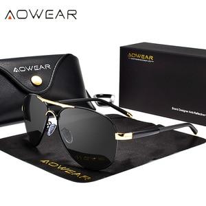 Image 2 - AOWEAR Brand Designer Polarized Sunglasses Men Aviation Coating Mirror Sun Glasses for Man Women oculos gafas lentes de sol