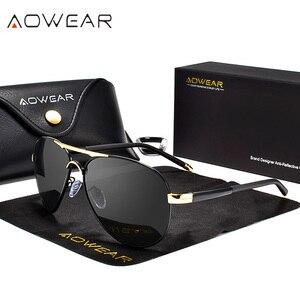 Image 2 - AOWEAR marka projektant spolaryzowane okulary mężczyźni lotnictwa powłoka lustrzane okulary przeciwłoneczne dla mężczyzny kobiety óculos gafas lentes de sol
