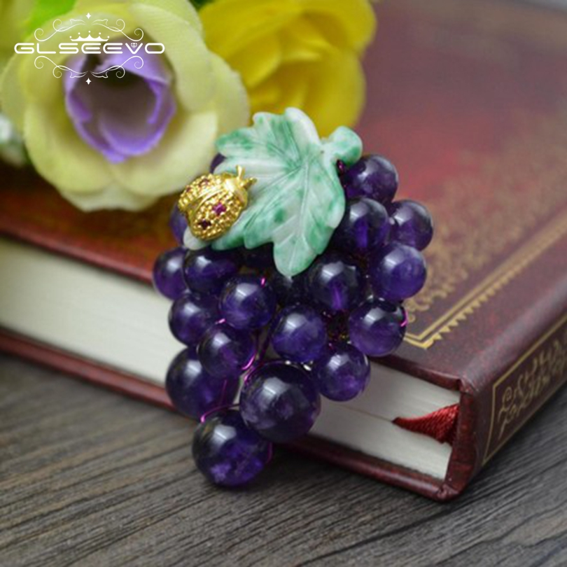 Xlentag Crystal-Grape-Brooches Fine-Jewelry Natural Women for Accessories Gift Pendant
